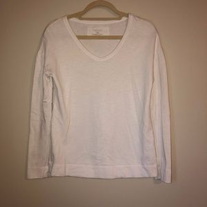 Sonoma White Long Sleeve V Neck Tee Size XS